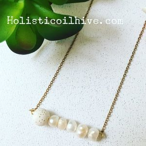 Fresh water pearl & lava diffuser necklace
