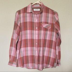 Diane Von Furstenberg Button Down Plaid Shirt