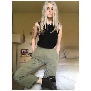 90s VTG Light Olive Silk Trousers