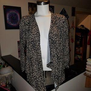 cheetah print open sweater