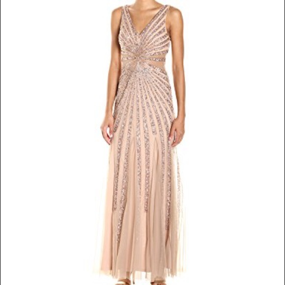 Adrianna Papell Dresses | Rose Gold Beaded Gown | Poshmark