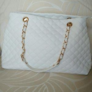 Handbags - WHITE QUILTED HANDBAG