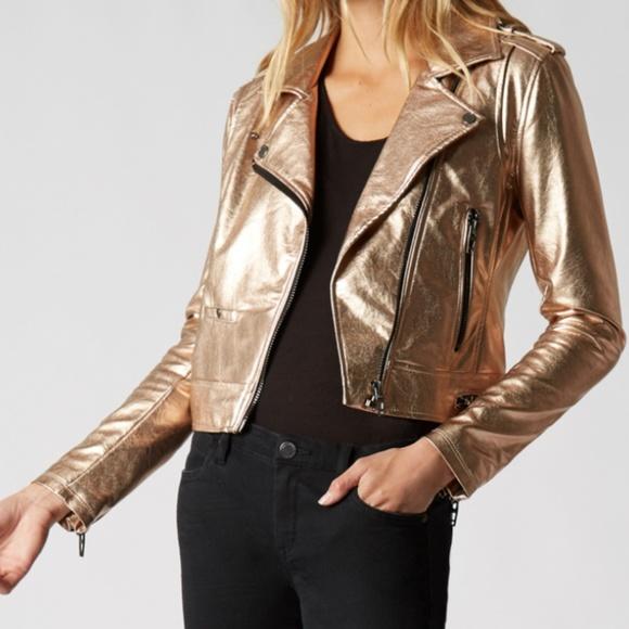 Blank NYC Jackets & Blazers - BlankNYC Metallic Faux Leather Moto XS NWT