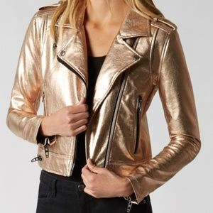Blank NYC Jackets & Coats - BlankNYC Metallic Faux Leather Moto XS NWT