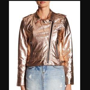 Blank NYC Jackets & Coats - BlankNYC Metallic Faux Leather Moto XS NWT