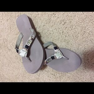 LIKE NEW❗️Silver Gray Bejeweled Sandals