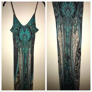 Long Fitted Spaghetti Strap Maxi Dress