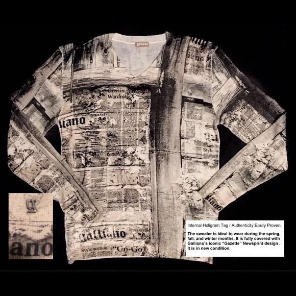 75d3e0bd9a John Galliano Other - New Galliano Gazette-Printed Wool Sweater Sz L Men