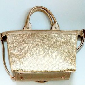 Pink Haley Bags - Pink Haley Rhinestone Embellished Gold Woven Tote