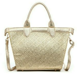 Pink Haley Rhinestone Embellished Gold Woven Tote