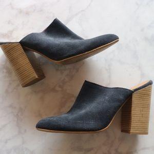 Matisse navy suede mule