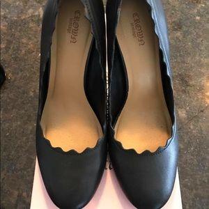 Scalloped Black Heels
