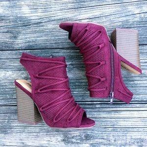 Wine Red Block Heel Ankle Booties