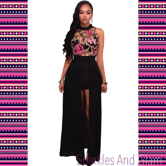 750c55f9bbf Black Sheer Embroidery Chiffon Romper Dress