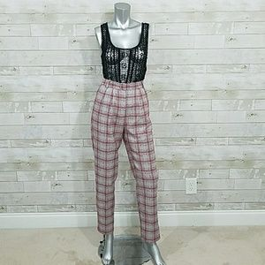 NEW ASOS Grey red check pleat pants size 4