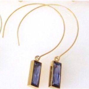 Swarovski Tanzanite Crystal 18k Open-Hoop Earrings