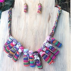New Mexican Worry Dolls Necklace & Earrings Set