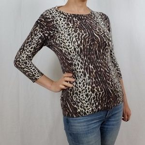 J. CREW MERINO WOOL ANIMAL PRINT SWEATER