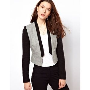 Aryn K. grey open front blazer knitted sleeve
