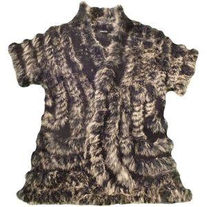 NWOT DOLCE CABO Knit Vest Short Sleeves Rabbit Fur