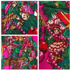 Vintage Oscar de la Renta Christmas Scarf, Silk