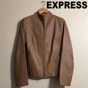 Express Vegan Faux Leather Brown Jacket
