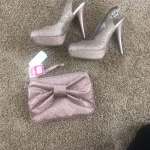 Women's sparkle shoes and wristlet