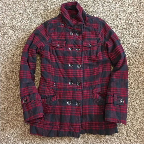 1d2e7026eec Hurley Jackets & Coats | Plaid Cozy Pea Coat | Poshmark