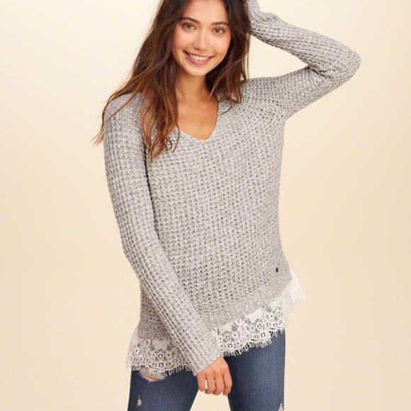 Hollister Lace Hem Pullover Sweater a816172d5
