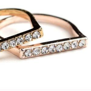 ❗️1 LEFT Chic Rose Gold Stone Ring Sz 9