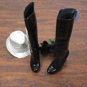 Joe Fresh Patent Black Leather Boots Size 8