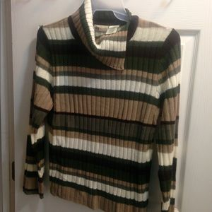Asymmetrical collar striped sweater is all acrylic