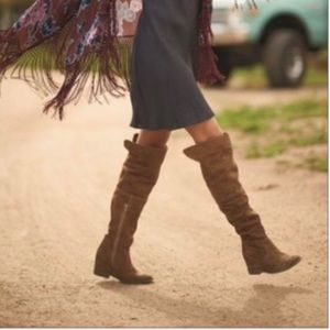 Suede Leather Slouchy Knee-High Boots