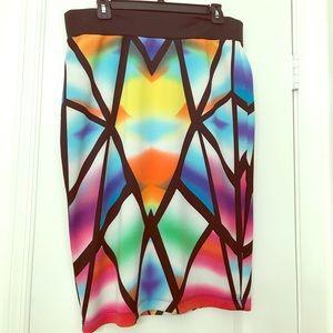 Bisou Bisou stretch knee length skirt Sz L