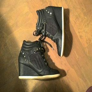 H&M Black Wedge Boots SZ. 8M