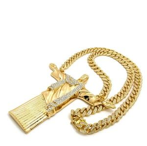 Other - 14K GOLD PLATED ICED OUT JESUS CHAIN