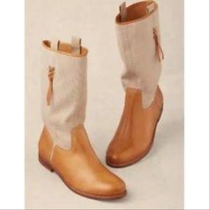 NIB Distressed Boho Chic Leather Tan Mid Calf Boot