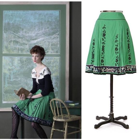 c41ec7bee70 Anthropologie Dresses   Skirts -  Lithe Anthro  Green Navy Rustling Wind  Skirt