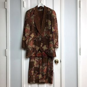 VINTAGE 80s Silk Printed 3pc Skirt Suit sz 6