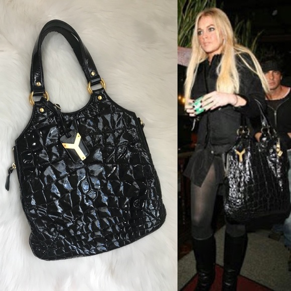 2b79ab5a3d YSL Tribute Tote Embossed Croc Patent Leather
