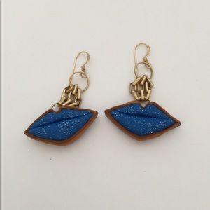 Blue lip earrings