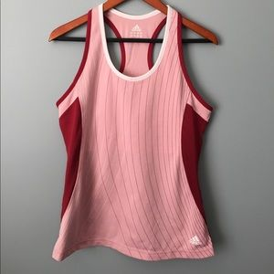 Adidas L Pink/Red Racer Back Athletic top