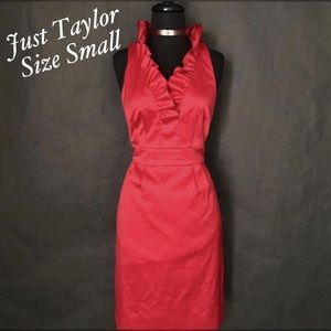 Just Taylor Ruffle Collar Red Satin Beauty