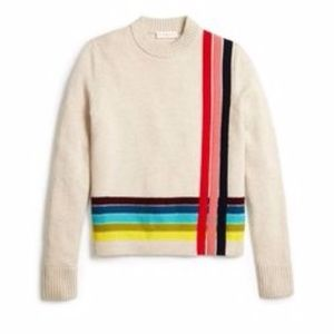 TORY BURCH Cashmere Stripe Sweater in Natural L