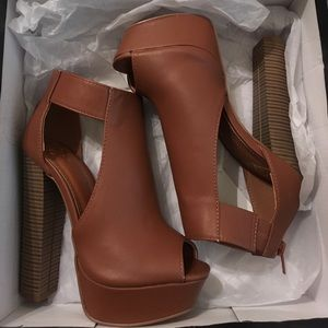 Tan Leather Platform Heels