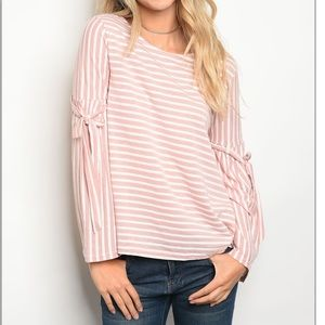 Tops - Blush Striped Top with Ribbon Detail on Sleeves