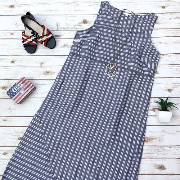 3aca4cfb958 J. Jill Dresses   Skirts - J. Jill Love Linen Striped Lagenlook Maxi Dress