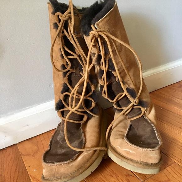 Ugg Shoes Brown Appalachian Laceup Shearling Suede Boots Poshmark