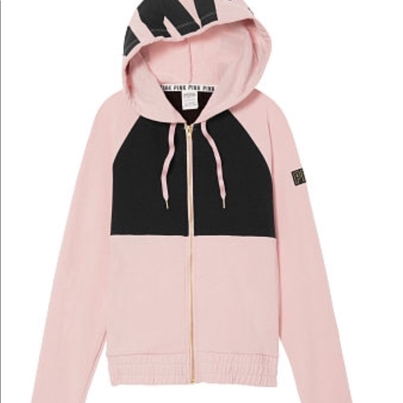 c9ae4357f NWT VS PINK PERFECT FULL ZIP HOODIE PINK BLACK SZM
