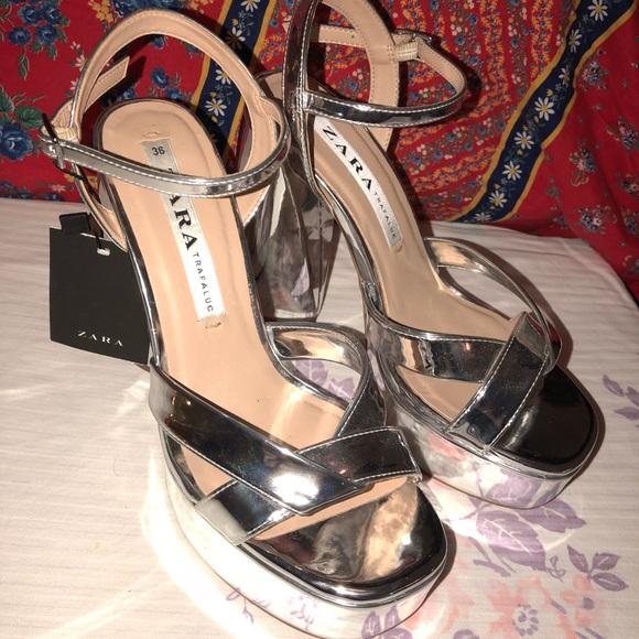 c7380f1292fb ZARA Silver Metallic Disco Platform Block Heels
